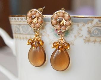 Brown Post Dangle Earrings , Beige Earrings , Brown Flower Earrings