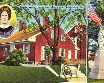 Gettysburg, Pennsylvania, Jennie Wade House, Monument - Postcard - Vintage Postcard - Unused (GG)