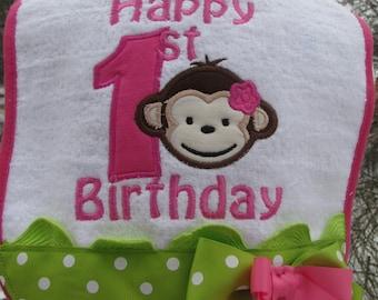 mod monkey birthday bibs, 1st birthday bib, mod monkey, 2nd birthday  bib, mod monkey birthday,  smash cake photo