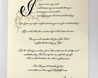 Bible Art/Proverbs 2:1-8/Wisdom/Custom Calligraphy/Calligrapher/Made to Order/Black/Gold