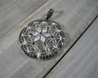 vintage sterling silver with cz pendant, cubic zirconia in sterling, round pendant with floral design