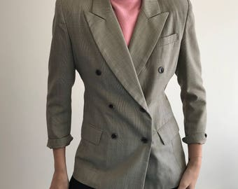 90's Vintage Glen Checked Double Breasted Wool Peanut Blazer