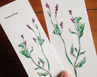 Original Watercolor Floral Printed Bookmark