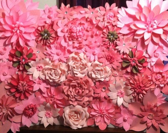 Pink Paper Flower Wall Backdrop 8ftx8ft