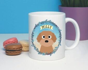 Labradoodle Personalised Dog Cartoon Mug, Labrador Poodle Crossbreed,  Dog Lover Gift