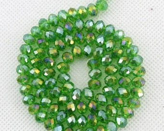 100 Pieces,6mm Sparkle Green Crystal Beads,Green Faceted Crystal Beads,1 Strand,Crystal Beads,Gemstone Beads,Jewelry Supplies--BR035