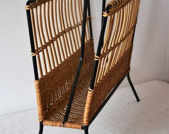 Vintage 60s woven rattan magazine rack