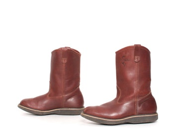 men's size 8.5 RANCH brown leather ENGINEER 70's mid calf HUNTING boots