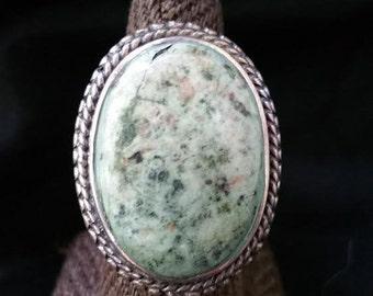 Jasper Sterling Ring Ornate Setting
