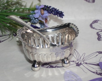 Lovely Sheffield 1892 Silver Scalloped Salt Cellar and Spoon James Dixon