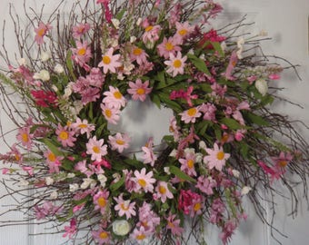 Spring wreath, Mothers Day wreath, spring door wreath, spring decoration, front door wreath, door wreath, housewarming gift, floral wreath