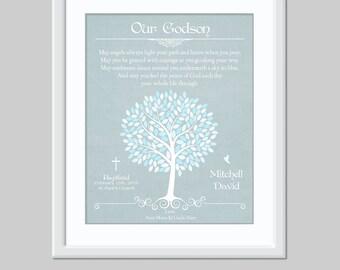 Godson Gift - Godchild Gift - Baptism Gift - Christening Gift - Godson Poem - Personalized Baby Gift - Christian Baby Gift - Godson Print