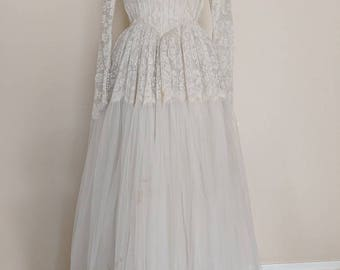 Vintage 1950s Long Sleeve Micro-pleated Lace and Tulle Ballgown V-003