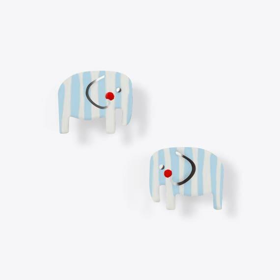 Light Blue + White Striped Elephant Earrings