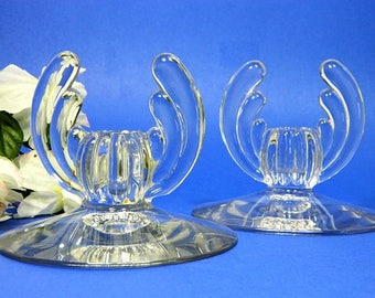 A Pair of Heisey Crystolite Candle Holders Art Deco