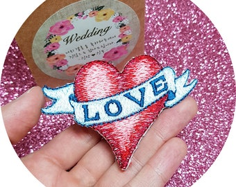 Red Heart Banded with the Word 'LOVE' Pastel Tone Color Sew On Embroidered Patch
