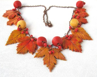 yellow red necklace autumn leaf fall jewelry bib necklace maple leaf gift for wife inspiration nature necklace statement canada maple leaves