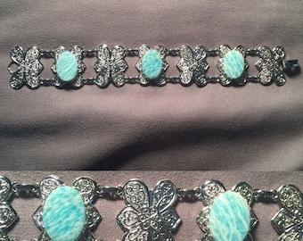 Amazonite Butterfly/Flower Bracelet
