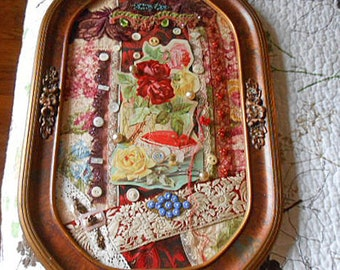VICTORIAN SEWING NOOK Fabric Art Collage Antique Bubble Glass Frame, Clark's Rose Trade Card, Twill Lace Buttons Brooch Altered Reused Ooak