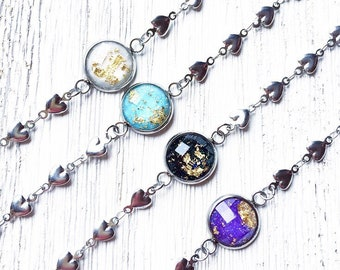 Gypsy Bracelet, Psychedelic, Arm Candy, Festival Style, Galaxy, Cosmic, Stainless Steel
