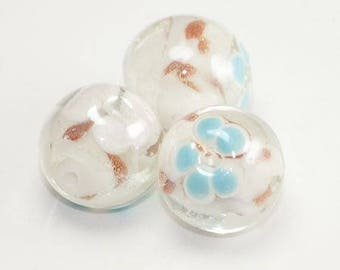 Translucent inlay turquoise and bronze glass bead