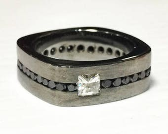 Blackened Sterling Silver with Black Diamonds and Moissanite Band
