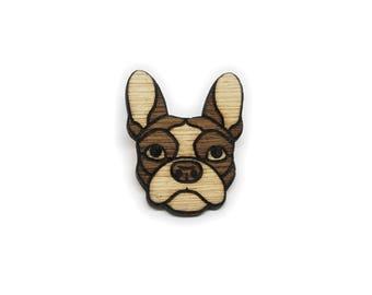 Wooden French Bulldog Pin