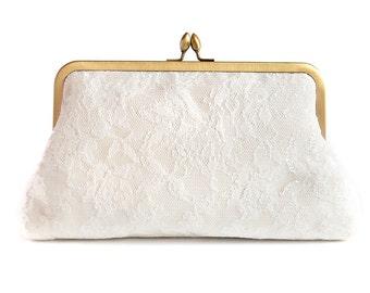 Wedding Purse, Vintage French Lace Clutch, Ivory Lace Bag, Something Blue, Something Old, Bridal Plain Clutch, Wedding Purse uk, gold frame