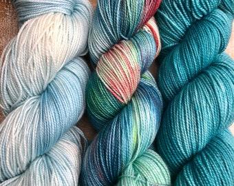 Sock Weight Superwash Merino Wool, Indie Dyed, Merino, 3 skein yarn kit, sock yarn, Shawl Yarn Kit, teal, blue