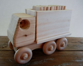 Wooden Toy Truck- Cargo Truck with Blocks-Preschool/Toddler Learning toy-Montessori inspired