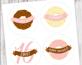 Donut #Party #Stickers