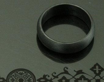 Basic Black Band--6mm Rounded Black Sterling Silver Men's Wedding Band--Black Half Round Band--Men's Black Band--Oxidized Sterling Silver