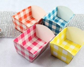 Checker Mini Paper Candy Cups Cookie Nut Tray Holders Party Favor