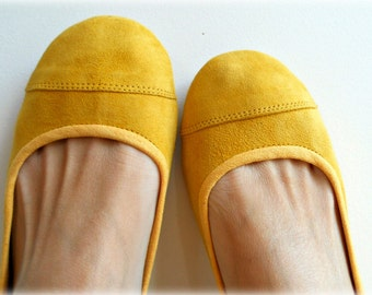 LUNAR- Ballet Flats - Suede Shoe-Lemon Zest. 39- Available in different sizes see below