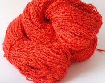 Rot-Orange Recycling Baumwolle/Wolle/Acryl Mischgarn, Kammgarn Gewicht