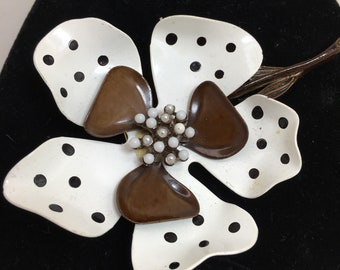 Vintage Enamel Flower Brooch Brown Polka Dot Designer Signed Tiny Bead Middle 1950's Retro Art Deco