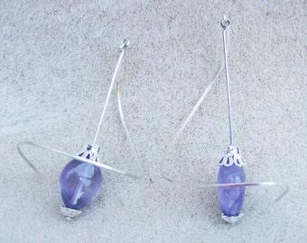 Exquisite Amethyst Earrings - Handmade Swirls, Sterling Silver, Genuine Purple Amethyst by JewelryArtistry - E544