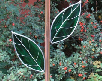 Plate Flower Copper Stem, Rebar Cover,  With Two Stained Glass Leaves, Made To Order
