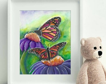 Butterfly Art Print - Butterfly Painting - Butterfly Wings - Echinacea art - Purple Coneflower print - Oracle Deck Illustration