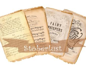 4 x   vintage ephemera papers Digitnal Collage sheet 4 images _ 2 A 4 Sheets instant download