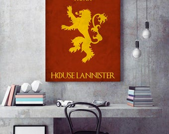 Game of Thrones poster, House Lannister, Minimalist Art Poster, Gift idea, Home Decor, House Lannister poster, House Lannister print
