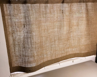 """Burlap Cafe Curtain with Free Jute Tieback, 40""""or 56"""" Wide X 24""""/30""""/36"""" Long, 'The SAND DUNE CAFE Curtain' by Jackie Dix"""