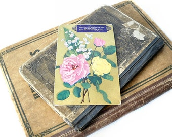 Antique Postcard, Gold Metallic with Flowers, 1908 Paper Ephemera