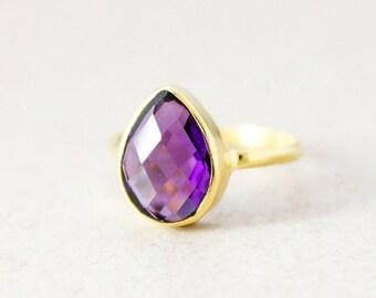 Purple Amethyst Ring - Gold - Gemstone Ring - Stacking Ring, February Birthstone Ring