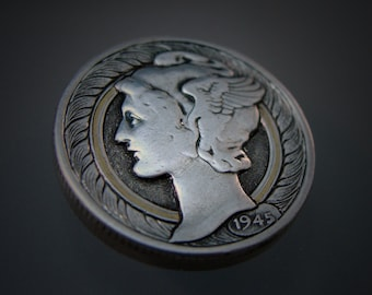 Hand Engraved Art Nouveau Inspired Silver Mercury Dime Love Token