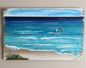 Shabby Chic Beach Decor, Beach Cottage Chic, Coastal Home Decor, Nautical Decor, Seaside Painting, Reclaimed Pallet Wood Painting, Beach Art