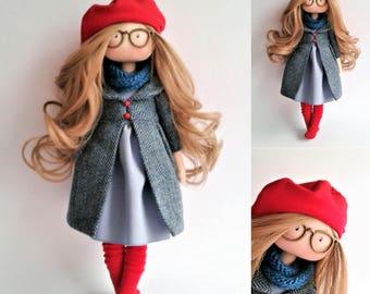 Handmade. Doll in blue. Art doll. Fabric doll. Tilda doll. Textile doll. Baby doll. Gift idea. Interior doll. Birthday. Dolls handmade