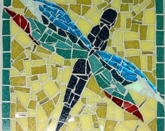 Handmade Square Mosaic Blue-Grey Aqua Flying Dragonfly Wall Art