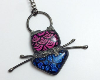 Dichroic Sparkle Glass Pendant   Fused Glass   Bohemian   Statement   Gift Under 50   Gift for Women   Chain Necklace   Stained Glass