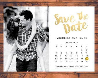 Save-the-date invitation calendar save the dates faux gold invite post card engagement invitation wedding invite digital printable STD022